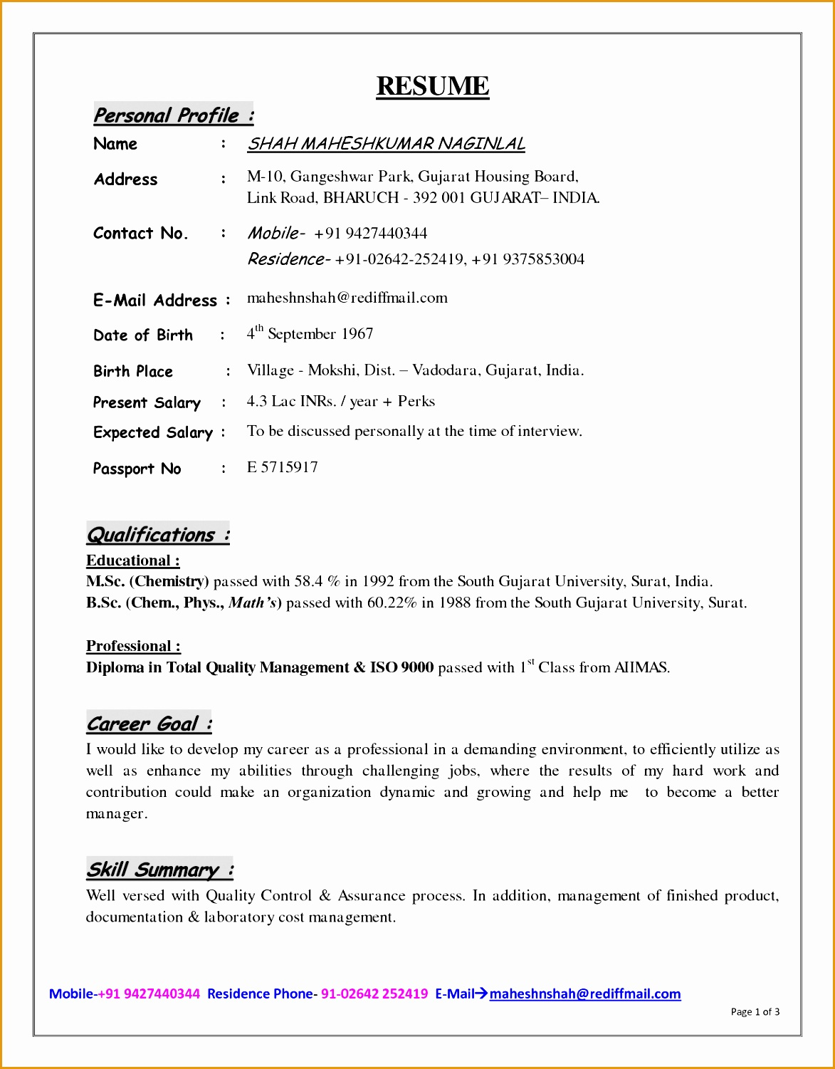 personal profile resume sample 6 best and professional templates