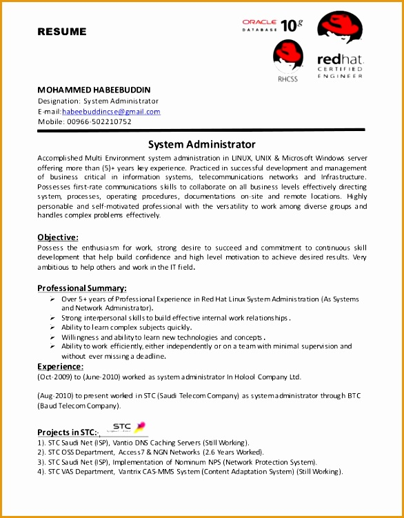 system administrator resume for freshers 9 resume format for fresher free samples examples 12328