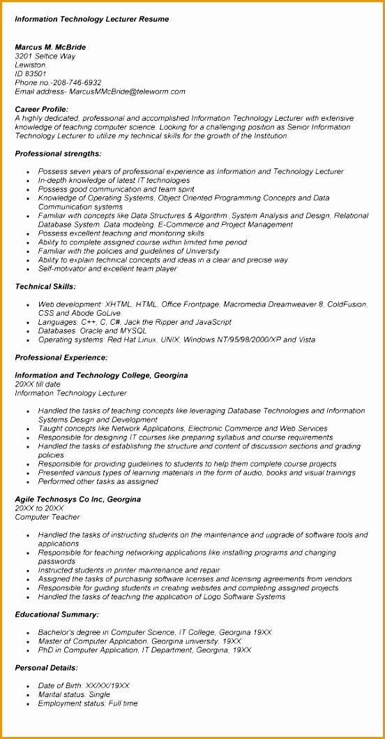 lecturer resume format for freshers1058552