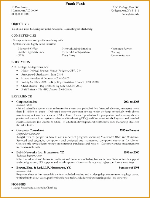 4 Resume Outline for A College