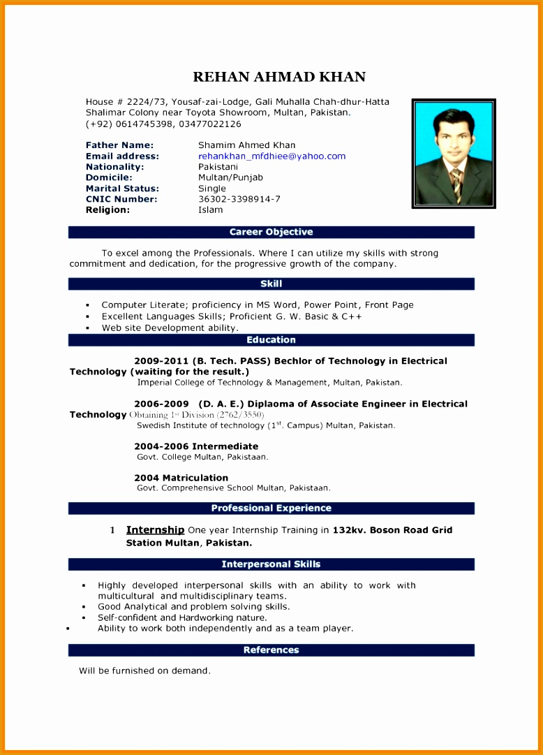 8 curriculum vitae format in ms word1081778