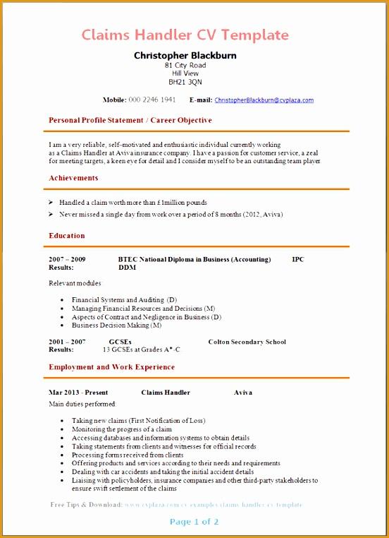 claims handler cv template762552