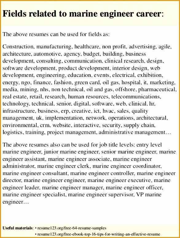 top 8 marine engineer resume samples774586