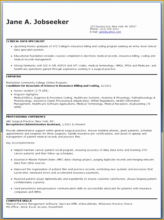clinical data specialist resume sample762570
