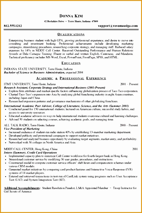 resume samples for students in college720483