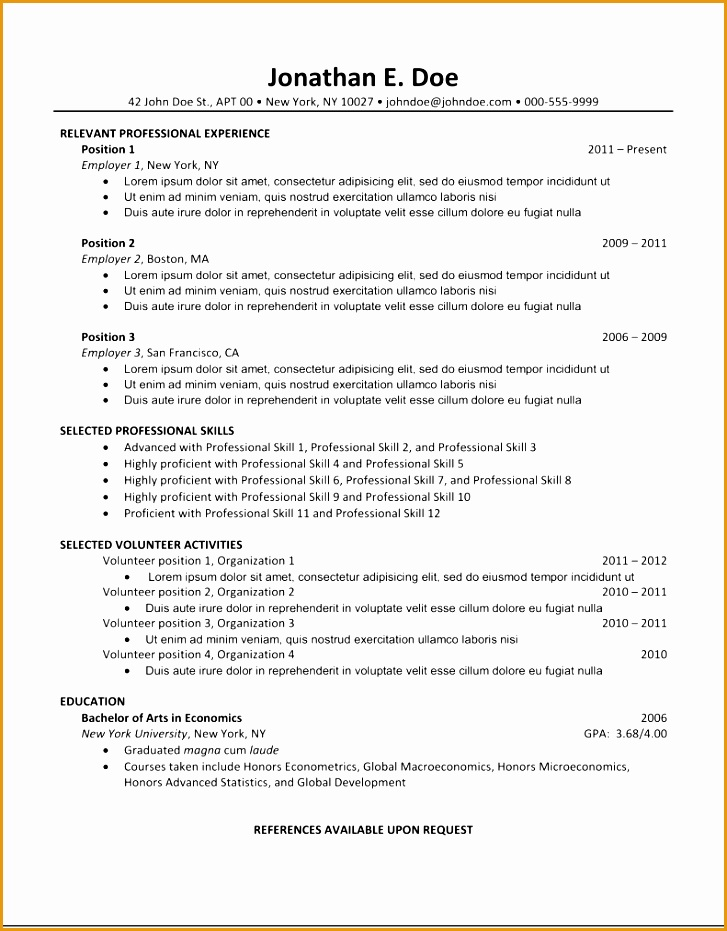 7 resume template for college students