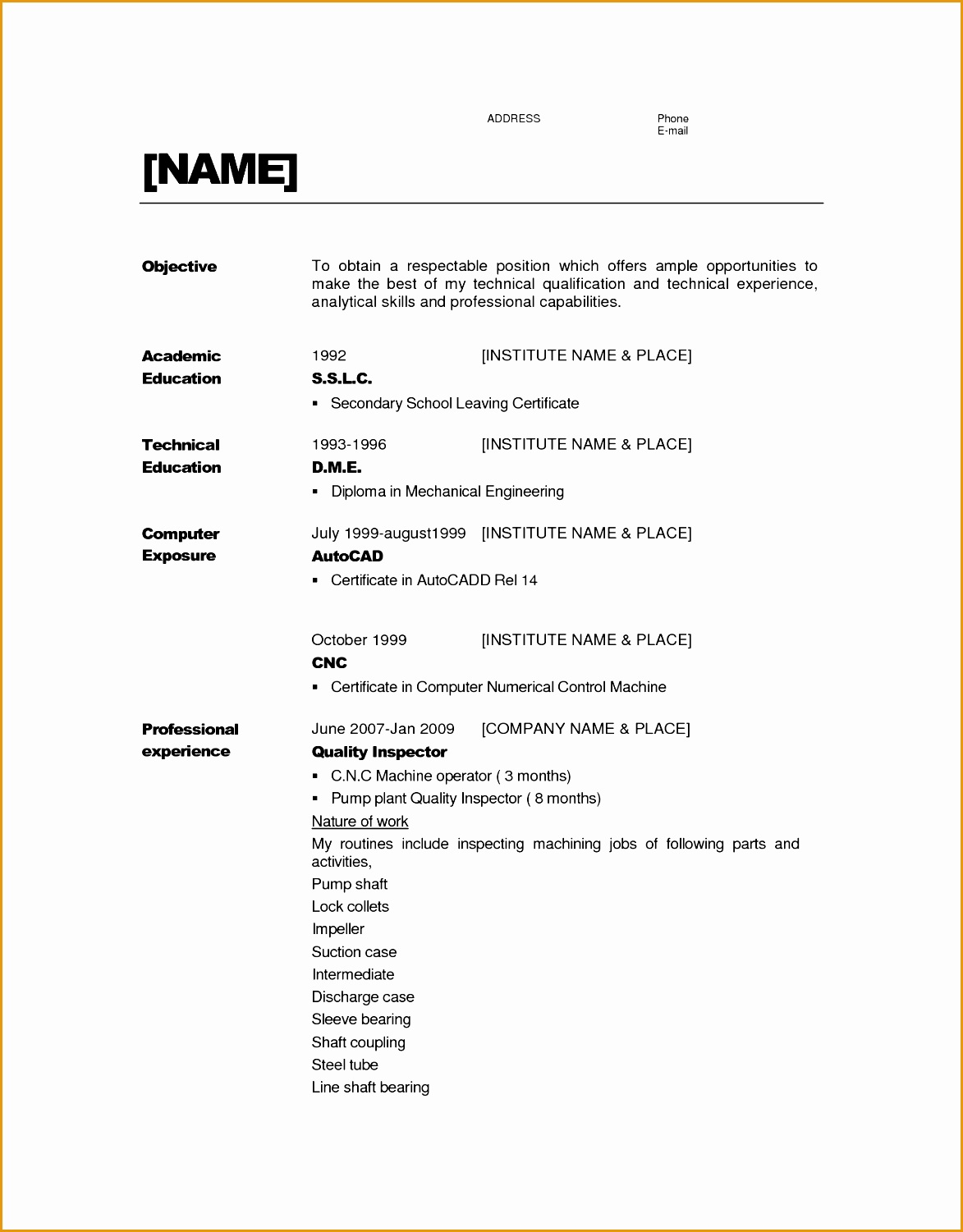 resume that don t require experience15011173