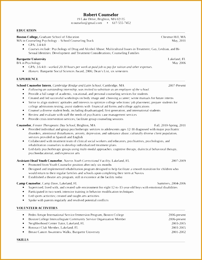 6 Sample Resume For Psychology Graduate Free Samples