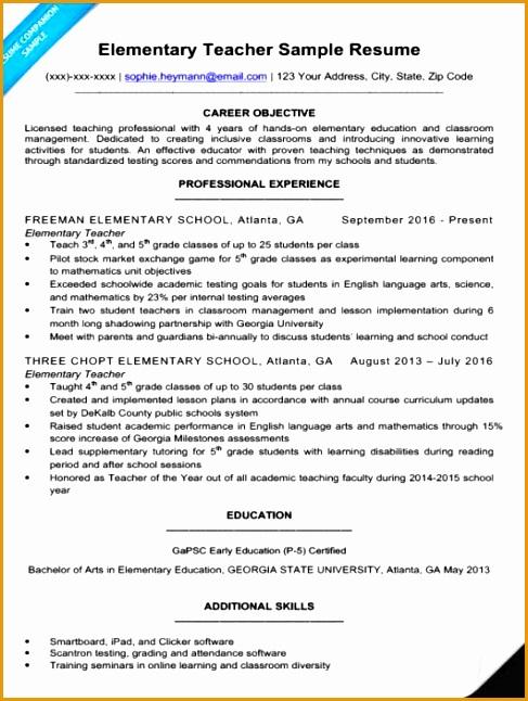 elementary teacher resume sample646487