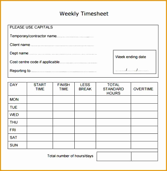 6 weekly timesheet sample551539