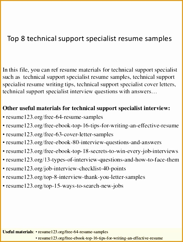 top 8 technical support specialist resume samples774586
