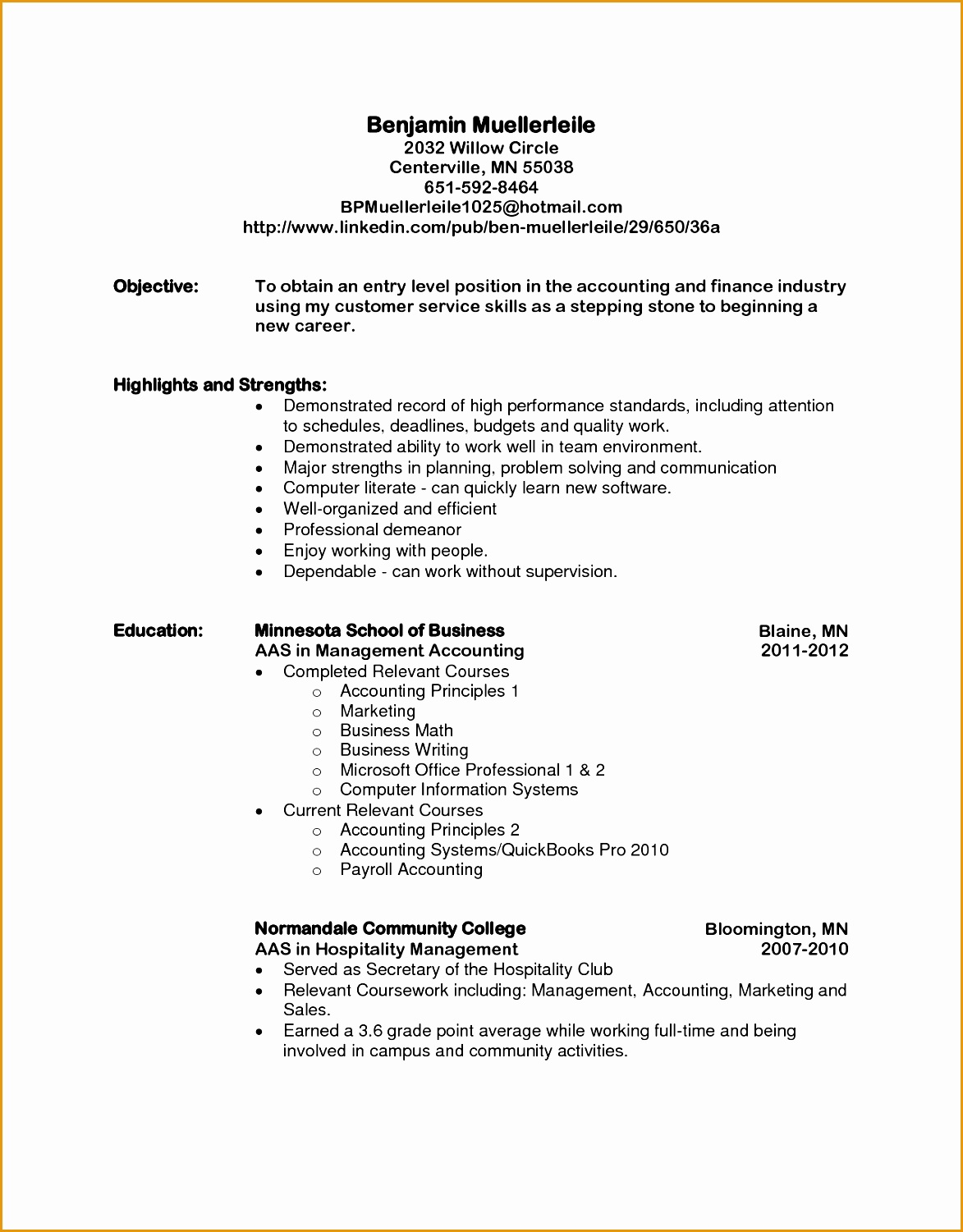 entry level resume sample objective accounting student for internship samples15011173