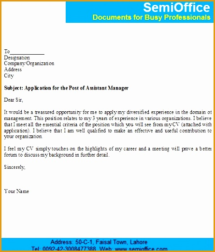 job application for the post of assistant manager521445
