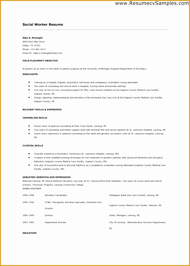 sample social worker resume example900644
