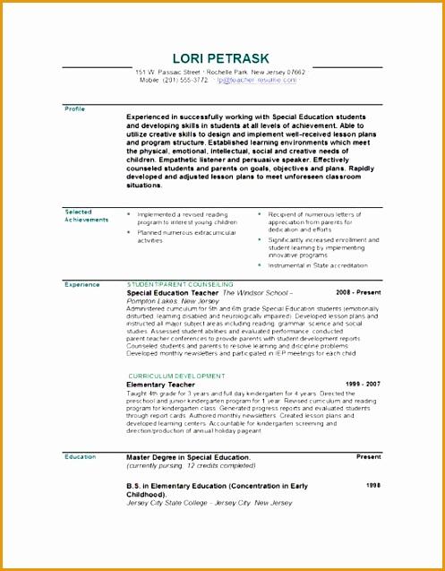 teacher resume doc637497