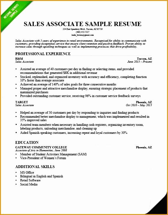 objective retail sales associate resume template sample 2015728570