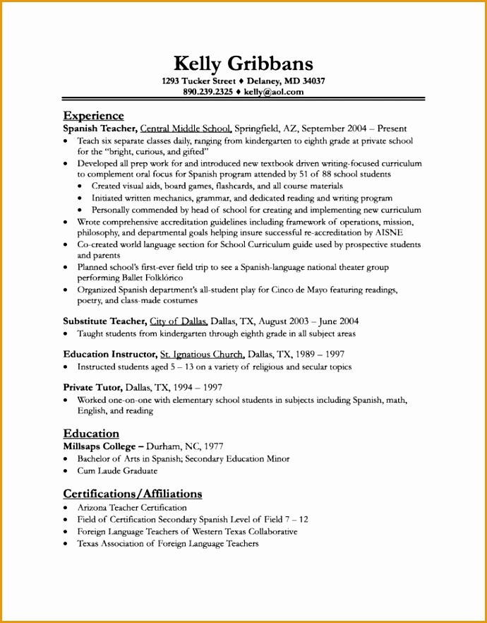 substitute teacher resume882690