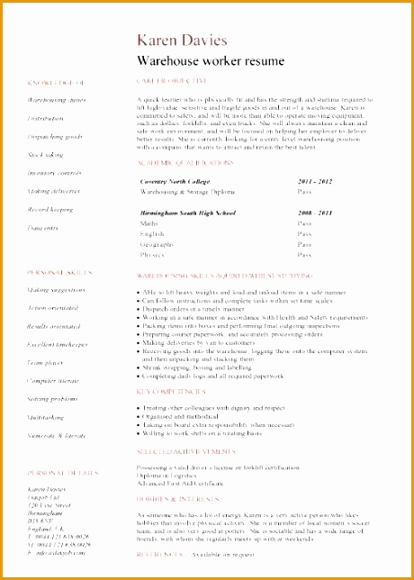 student entry level warehouse worker resume template 1049644460