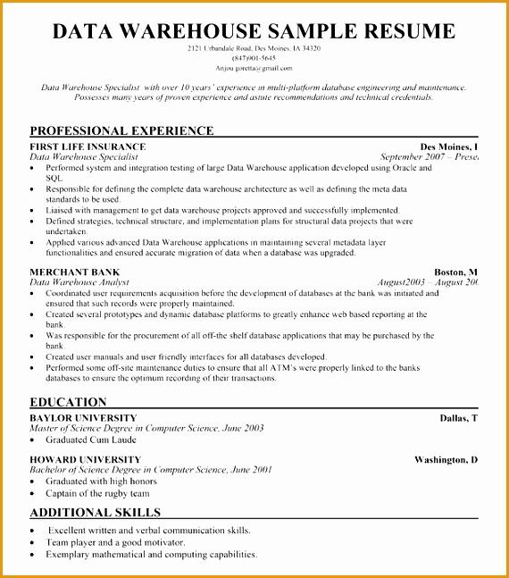 7 warehouse resume no experience