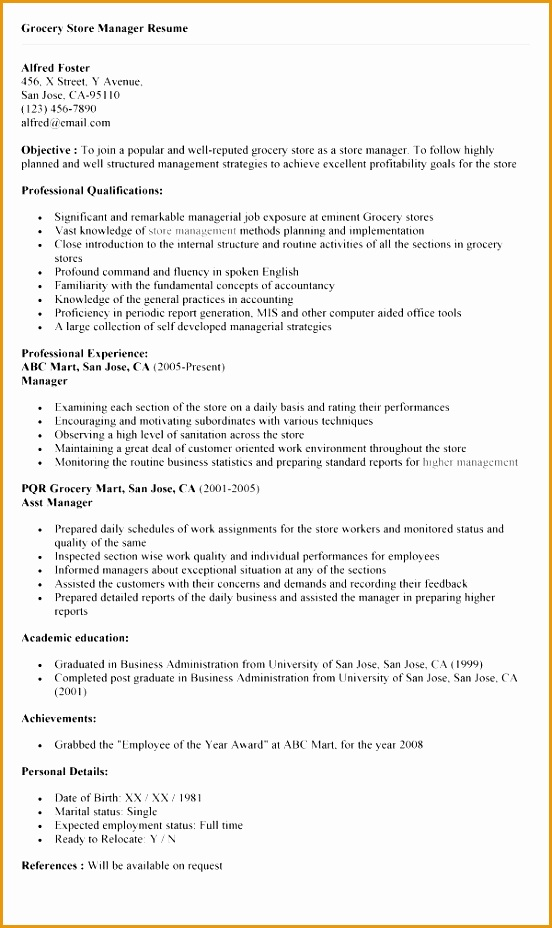 sample to write a resume for store manager in retail928552