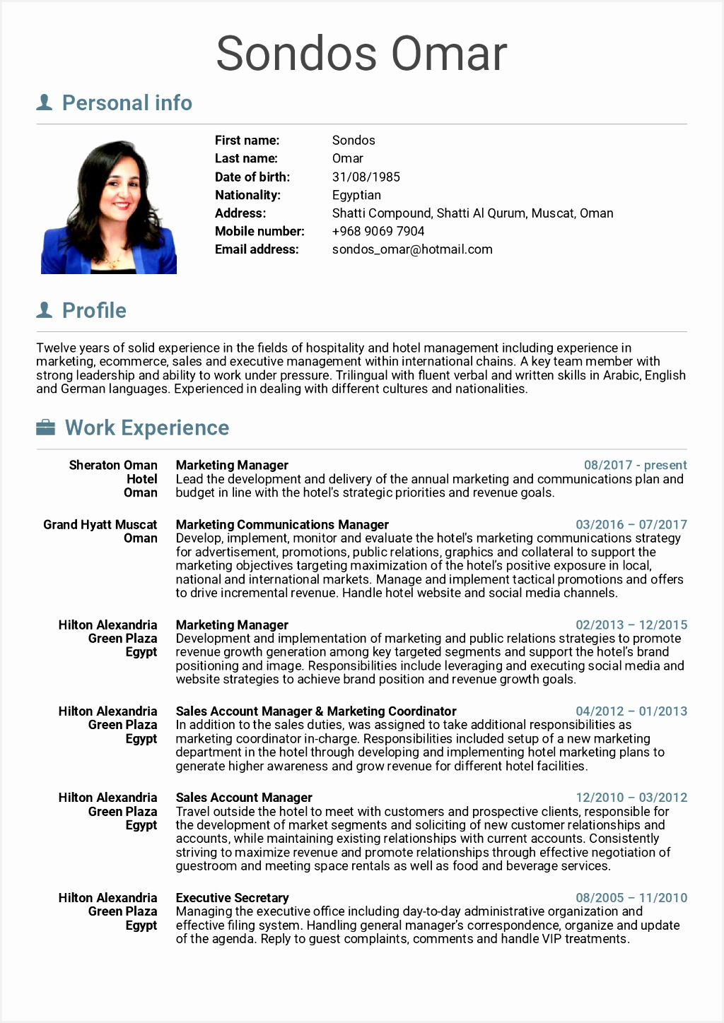 Hospitality Resume Hotel Sample Marketing Manager Samples Career Image Front Desk Objective Examples No14481024