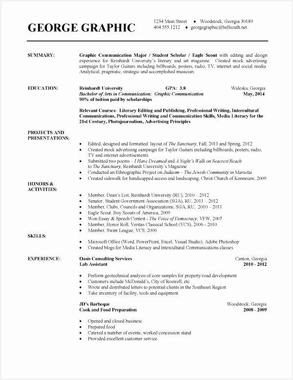 free resume template for college students776600