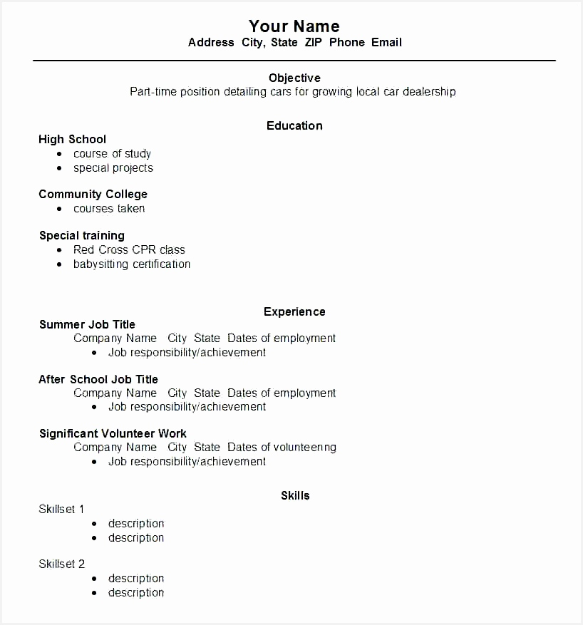 a sample resume templates for high school college cv template free student word good877818