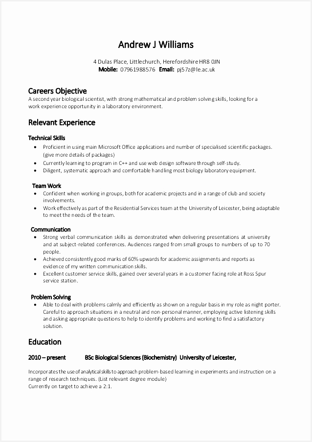 College Student Resume Template Awesome 14 Example A Good Cv for Student Resume 55903638