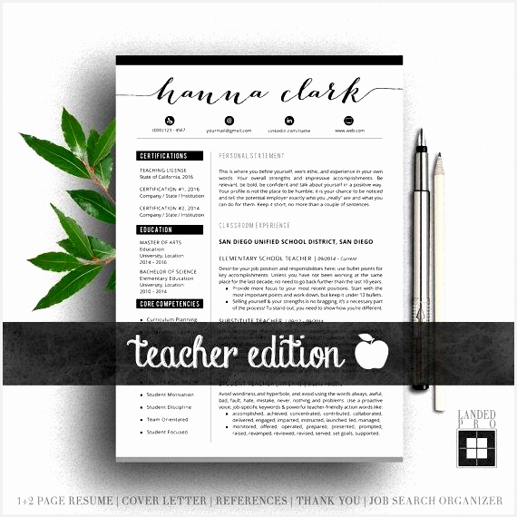 Teacher Resume Template & Cover Letter Professional Modern Creative Resume Template570570