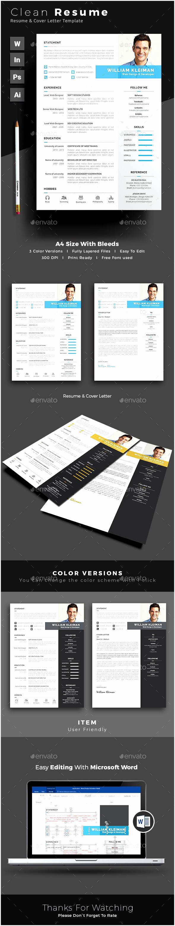 Resume Template PSD InDesign INDD AI Illustrator MS Word3121590