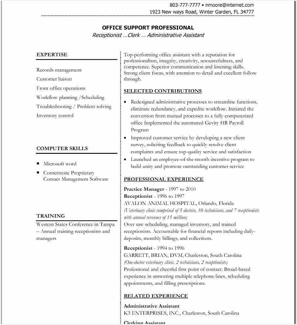 Admin Executive Resume Format Awesome Administrative Assistantte Od Specialist Cover Classic Free Templates 14001050960