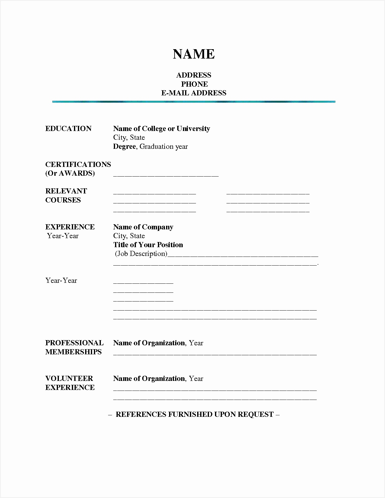 Free Printable Fill In the Blank Resume Templates Samples16501275
