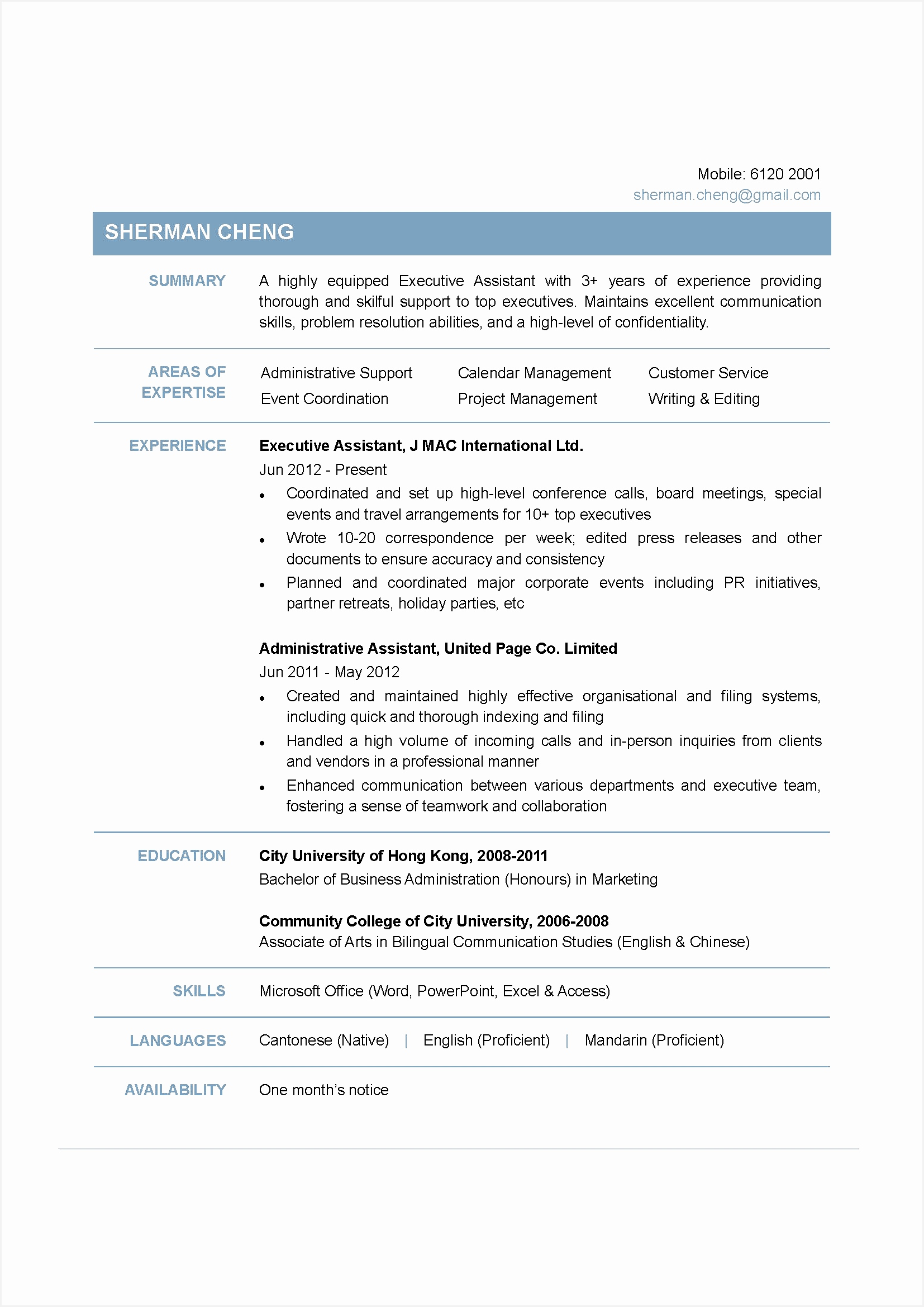 executive assistant sample resume23391654