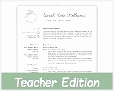 Teacher Resume Template for Word & Pages Teacher Template Teacher CV Resume for187235