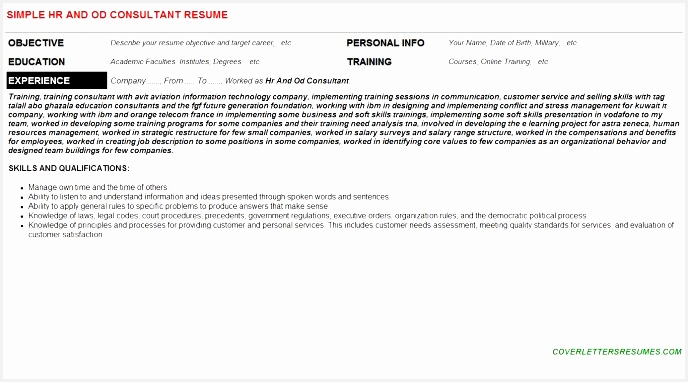 Academic Curriculum Vitae Template From Hr and Od Consultant Cover382688