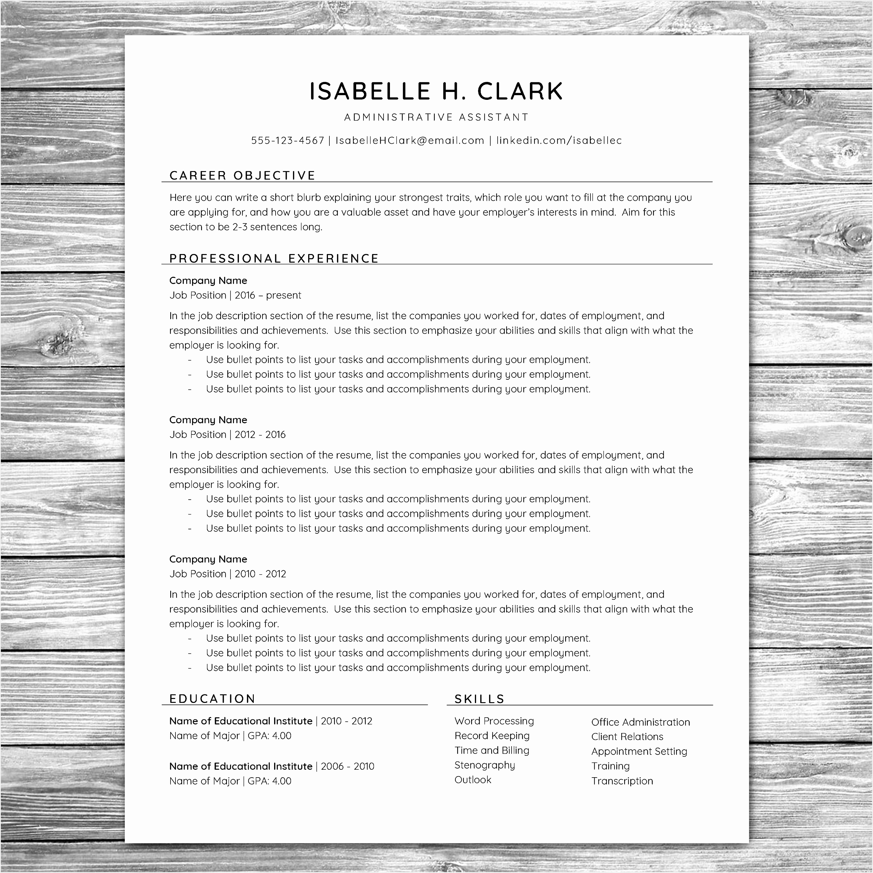 Professional Minimalist Resume Template CV Template Printable Resume Instant Download Cover Letter30003000
