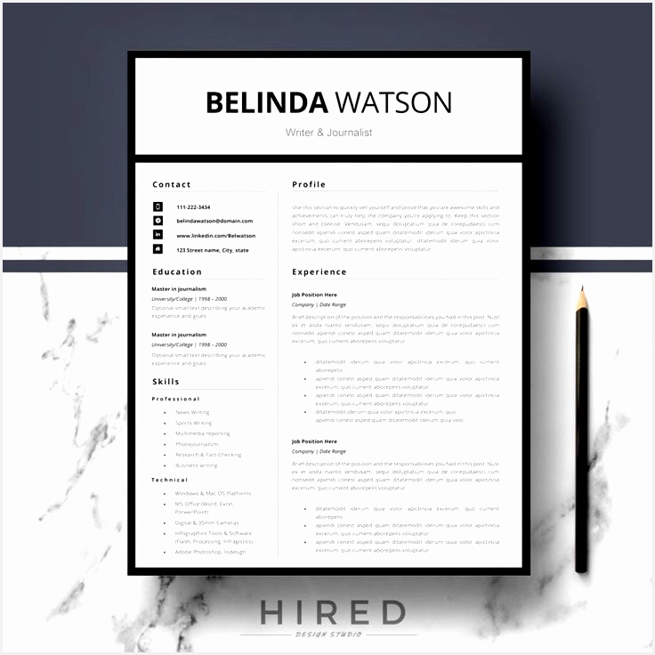 "Professional Modern and Minimalist Resume Template for MS Word ""Belinda""736736"