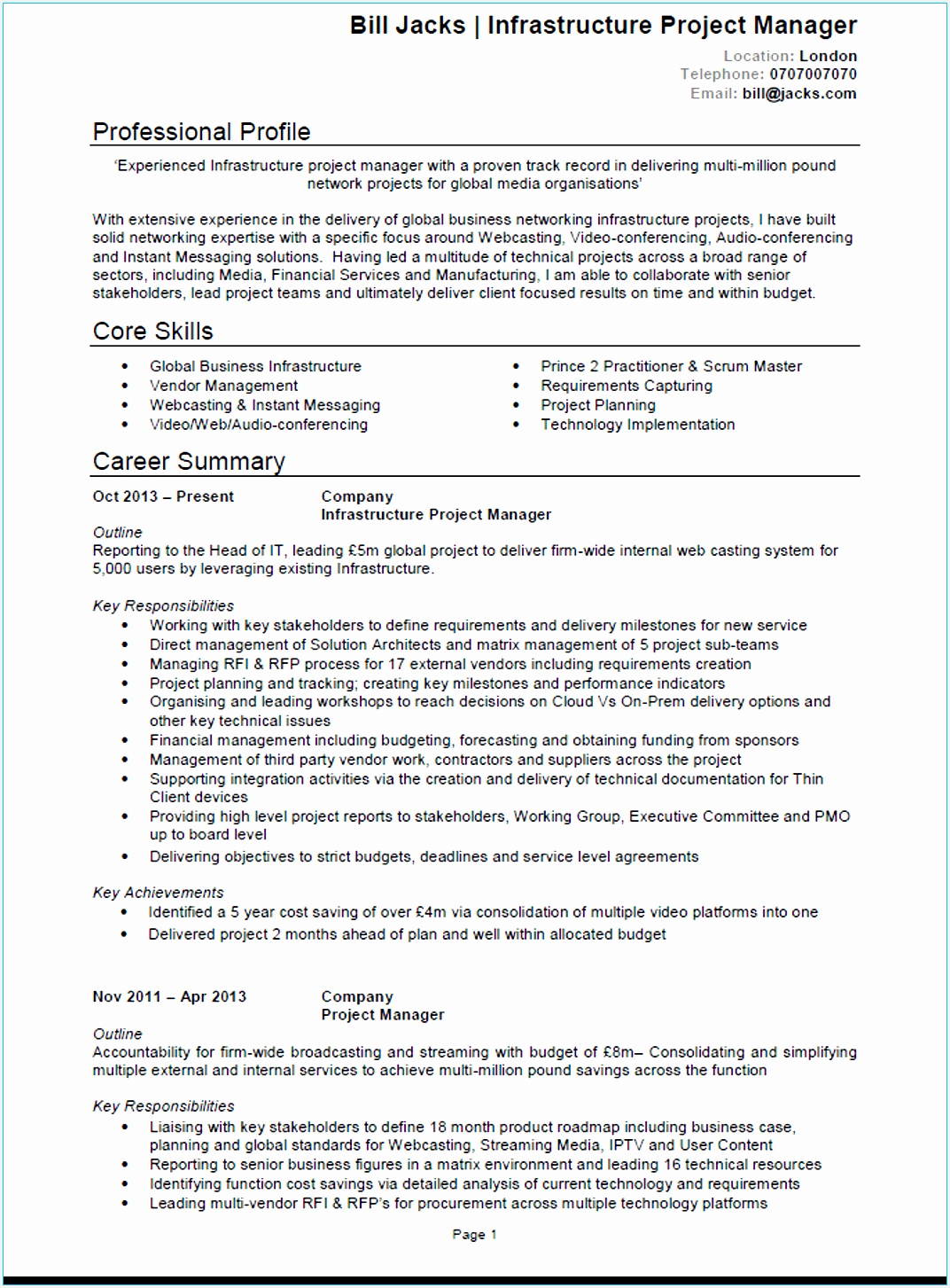 Project Manager CV example14531072