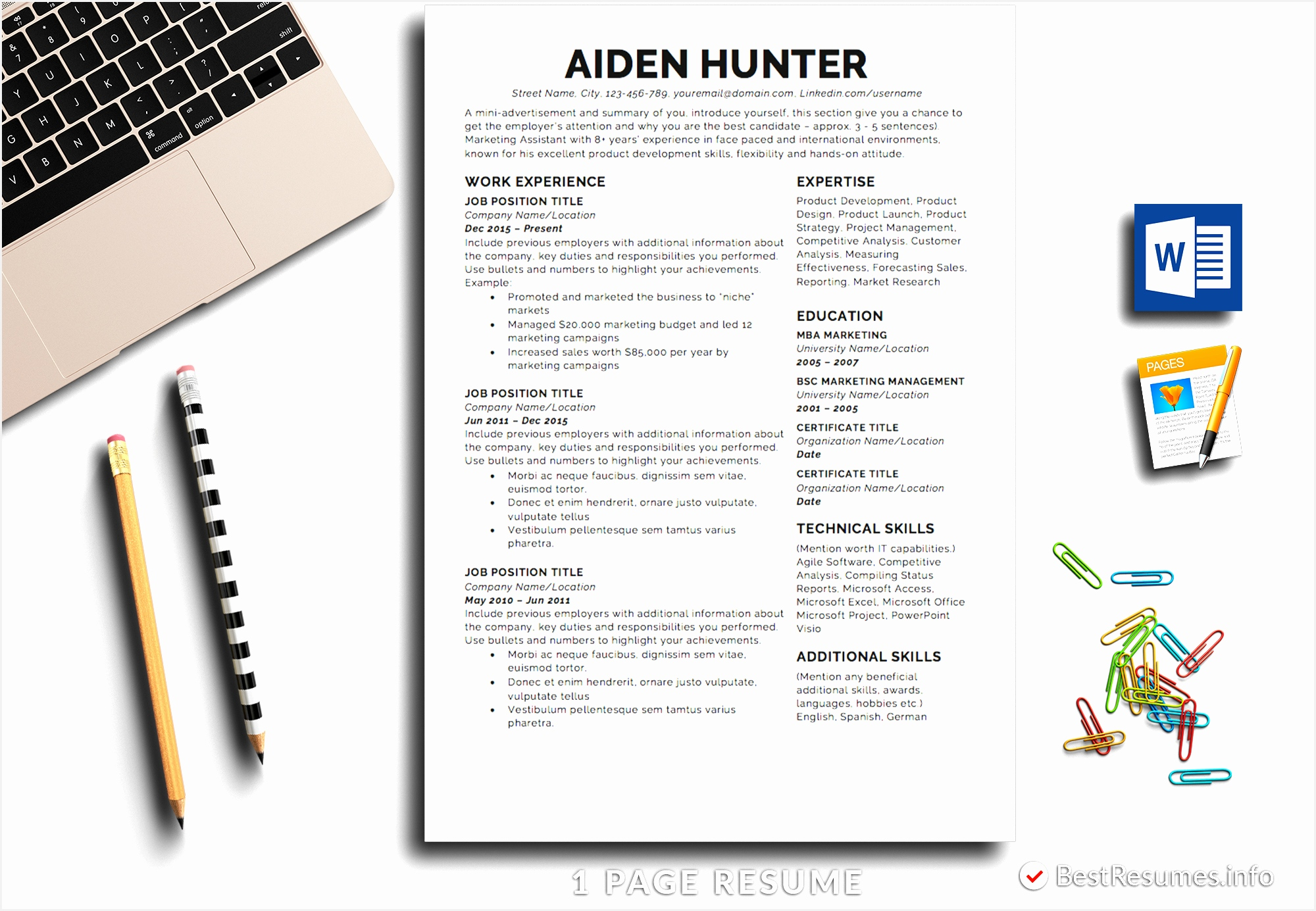 Resume Template Aiden Hunter 1 Page Professional Resume For Word and Pages Mac13852000