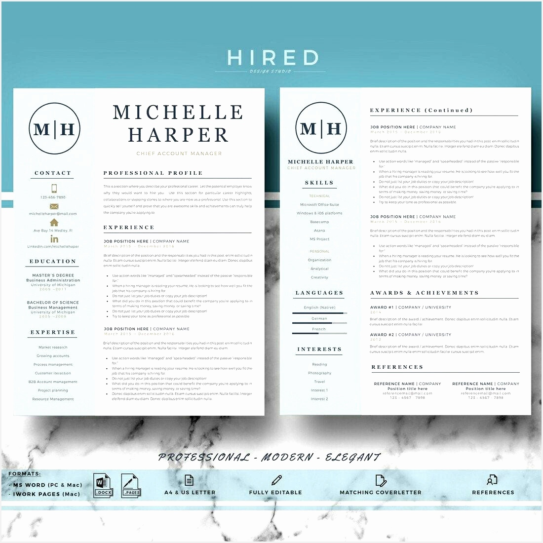 Mac Resume Templates New Professional & Modern Resume Template for Word and Pages11001100