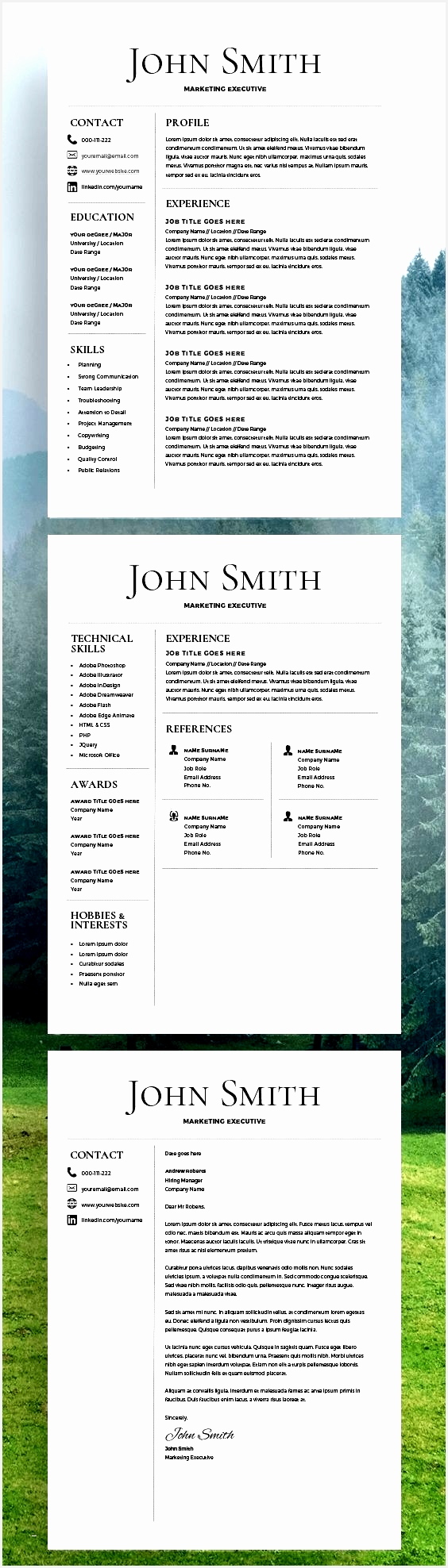 Resume Template CV Template Free Cover Letter MS Word on Mac PC1976564