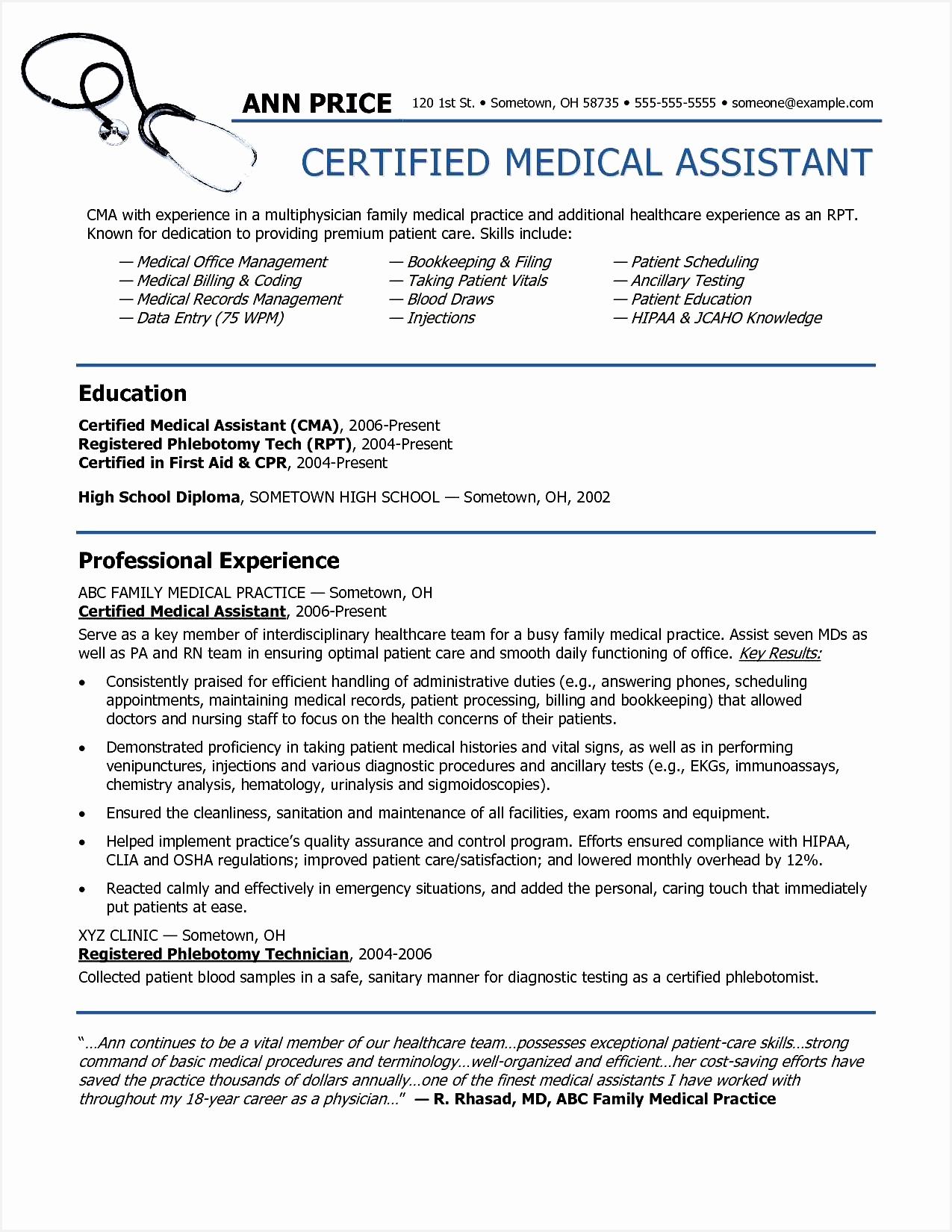 Cna Sample Resume Luxury Cover Letter Medical assistant Fresh Certified Nursing assistant Cna Sample Resume16501275