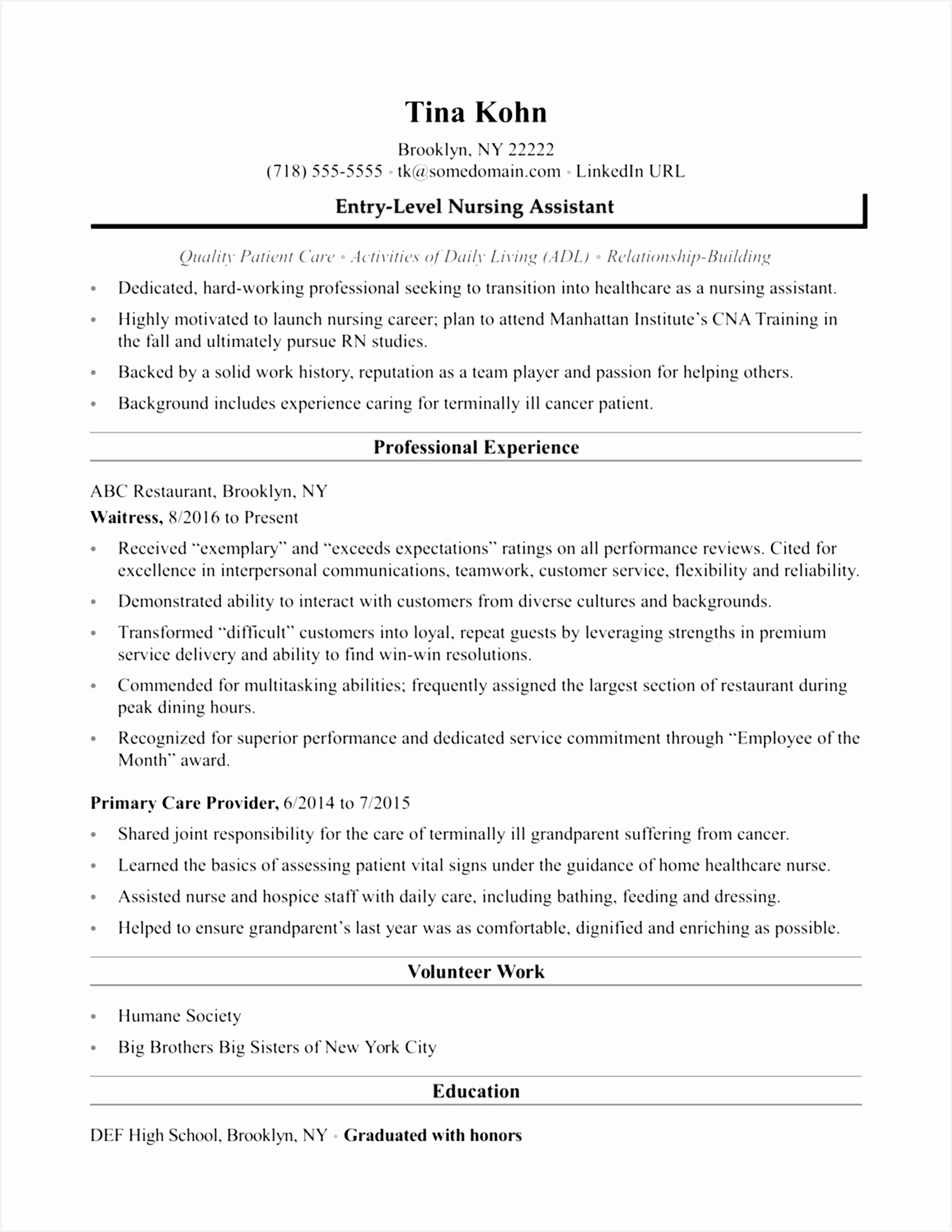 Medical Resume Template Awesome Entry Level Cna Resume Beautiful Elegant Cna Resume Samples Fresh Medical22001700