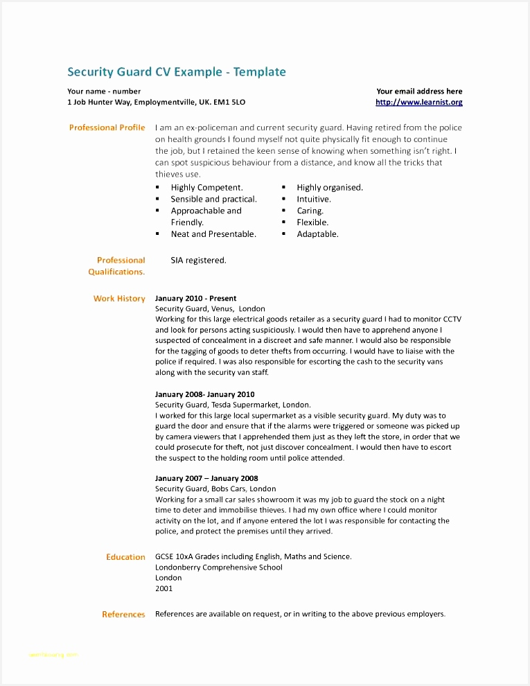 Examples Simple Resumes and Resume Security Guard Security Guard Resume Sample No Experience990765
