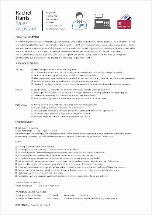 Sales assistant CV example shop store resume retail curriculum vitae jobs708500