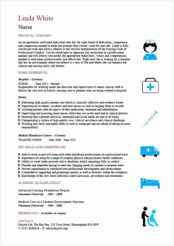 Nursing CV template nurse resume examples sample registered resumes healthcare work jobs842596