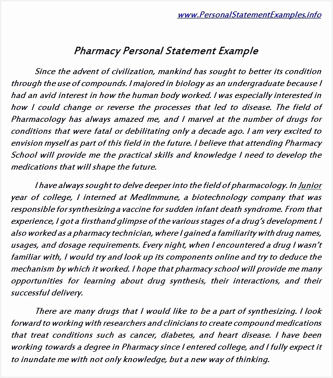 Useful Pharmacy Personal Statement Example760669