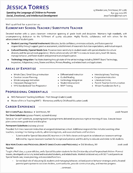 Substitute Teacher Resume Example712550