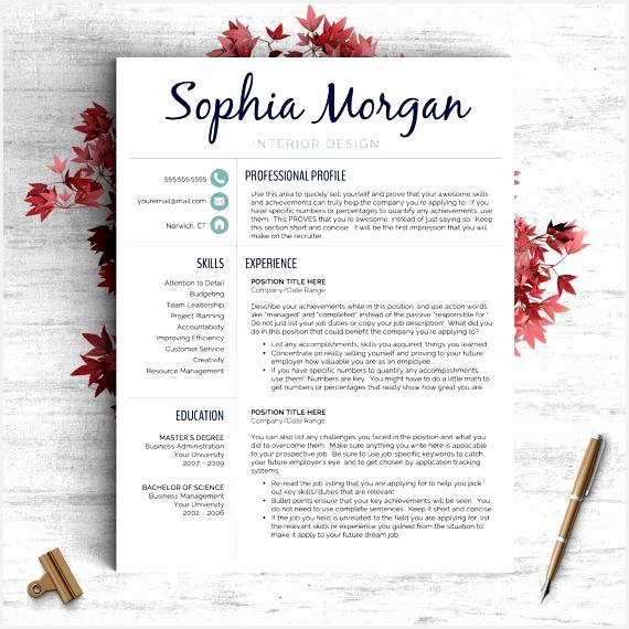 Creative Resume Template for Word and Pages The Sophia ✓ Instant Download CV Template ✓ US Letter and A4 Templates included ✓ Mac & PC570570
