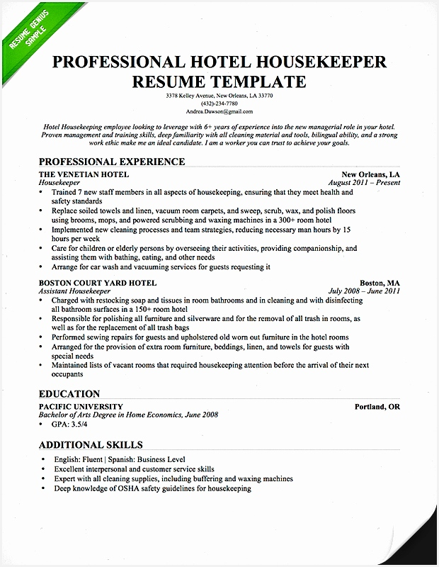 Nanny Resume Template Fresh Professional Housekeeper Maid Resume Template Free Download 58 Fresh Nanny Resume800620